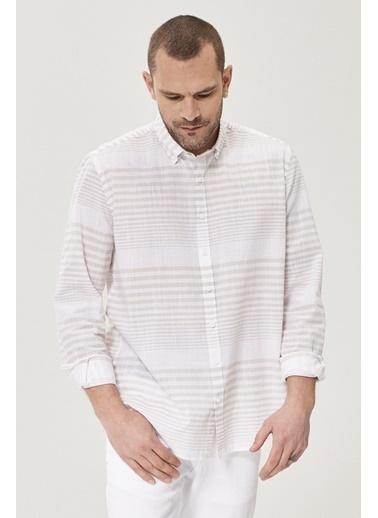AC&Co / Altınyıldız Classics Tailored Slim Fit Düğmeli Yaka %100 Koton Çizgili Gömlek 4A2021200008 Beyaz